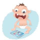 Dziecko bawić się z pastylka komputerem Zdjęcia Royalty Free