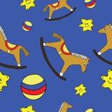 Dziecko bawi się, bezszwowy wzór, drewniany hourse, piłka, gwiazda, głęboki błękit Zdjęcia Royalty Free