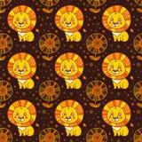 Dziecko bezszwowy wzór śliczny mały lew. Obrazy Stock