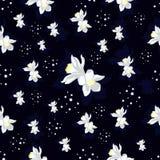 Dziecko bezszwowy wzór z cytryną kwitnie na ciemnym tle Zdjęcia Royalty Free