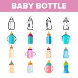 Dziecko butelka, wychowanie dziecka wyposa?enia Wektorowe Liniowe ikony Ustawia? royalty ilustracja