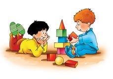 Dziecko chłopiec bawić się kostka do gry trenować Zdjęcia Stock