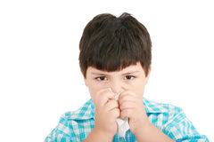 dziecko choroba zimna grypowa Zdjęcia Royalty Free