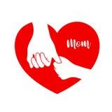 Dziecko chwyta mamy ` s ręka w czerwonym kierowym kształcie Obraz Stock