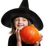 Dziecko - czarownica z banią Fotografia Royalty Free