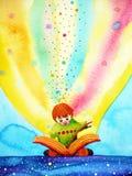 Dziecko czyta dużą książkę z wyobraźnią i zabawą, akwarela obraz royalty ilustracja