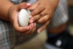 Dziecko dotyka trzymający bielu kamień Ręki 1 roczniaka dziecko zdjęcia stock
