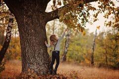 Dziecko dziewczyna bawić się z dębowym drzewem na spacerze Fotografia Stock
