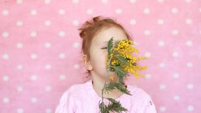 Dziecko dziewczyna obwąchuje mimoza kwiat i kicha Alergia pollen kwiaty zbiory