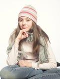 Dziecko dziewczyna z zimą odziewa Fotografia Stock