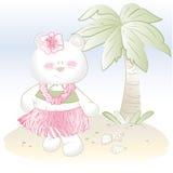 Dziecko dziewczyny Hawajski niedźwiedź na plaży ilustracja wektor