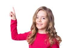 Dziecko dziewczyny twarzy punktu szczęśliwy palec odizolowywający Obrazy Stock