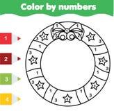Dziecko edukacyjna gra Barwić stronę z Bożenarodzeniowym wiankiem Kolor liczbami, printable aktywność dekoraci wakacji słodka tem royalty ilustracja