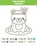 Dziecko edukacyjna gra Mathematics actvity Kolor liczbami, printable worksheet Barwić stronę z ślicznym niedźwiedziem ilustracja wektor