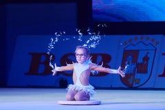 'dziecko filiżanka - BSB banka' children rywalizacje w gimnastykach, 05 2015 w Minsk Grudzień, Białoruś Obrazy Royalty Free
