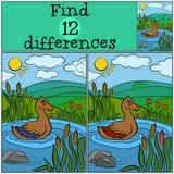Dziecko gry: Znalezisko różnicy Mała śliczna kaczka ilustracja wektor