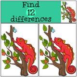 Dziecko gry: Znalezisko różnicy Mały śliczny czerwony kameleon Zdjęcia Stock
