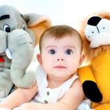 Dziecko i miś pluszowy Zdjęcia Stock