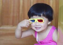 Dziecko i szkła 3d Fotografia Royalty Free