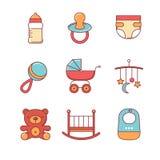 Dziecko ikony cienieją linia set Zdjęcia Stock