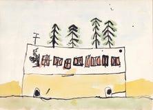 Dziecko ilustracja autobus z kierowcą Obrazy Royalty Free
