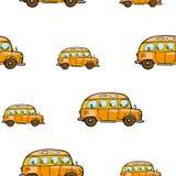 Dziecko jaskrawej kreskówki autobusowy wektorowy bezszwowy wzór na białym tle Fotografia Stock