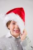 Dziecko jest ubranym Santa kapelusz Obrazy Royalty Free