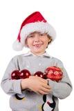 Dziecko jest ubranym Santa kapelusz Obrazy Stock