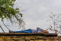Dziecko kłaść na antycznej ścianie robić cegła pod drzewem Obraz Stock