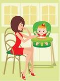 dziecko karmi mum royalty ilustracja