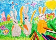 dziecko króliki rysunkowi rodzinni s Zdjęcie Stock