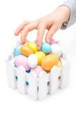 Dziecko kraść Wielkanocnych jajka Obraz Royalty Free