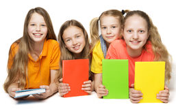 Dziecko książki, dzieciak dziewczyn Grupowego mienia Książkowa pokrywa Zdjęcie Royalty Free