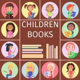 Dziecko książki, stos listy dla Czytać dzieciaków royalty ilustracja