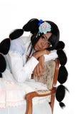 Dziecko - lali kobiety obsiadanie na karle Obrazy Royalty Free