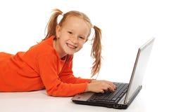 dziecko laptop obraz stock
