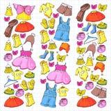 Dziecko moda i odziewać Suknia, spódnica, zwiera szalik, spodnia dla chłopiec i dziewczyny, moda dzieci Lato, zima royalty ilustracja