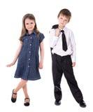 Dziecko mody pojęcie - chłopiec w garniturze i dziewczynie fotografia stock