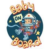 Dziecko na pokładzie szyldowego ciążowego kosmonauta ilustracji