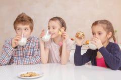 Dziecko napoju mleko z ciastkami Obraz Stock