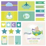 Dziecko niedźwiedź na samolocie dla Urodzinowej dekoraci - royalty ilustracja