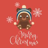 Dziecko niedźwiedź w zima kapeluszu ilustracja wektor
