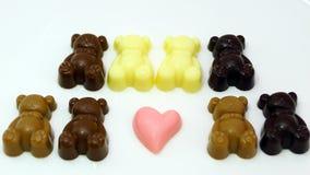 Dziecko Niedźwiadkowa czekolada na bielu talerzu Fotografia Stock