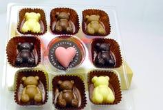 Dziecko Niedźwiadkowa czekolada na bielu talerzu Obraz Royalty Free