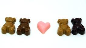 Dziecko Niedźwiadkowa czekolada na bielu talerzu Obrazy Royalty Free