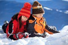 dziecko śnieg Zdjęcia Royalty Free