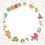 Dziecko Nowonarodzony Śliczna round rama w doodle i kreskówka projektujemy wektor ilustracja wektor