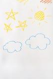Dziecko obraz w wosk kredce na białym papierze ilustracji