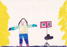 Dziecko obrazek muzyk na scenie Obraz Stock