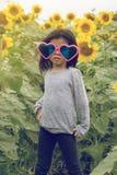 Dziecko odzieży Kierowi okulary przeciwsłoneczni z słonecznikiem Obrazy Stock